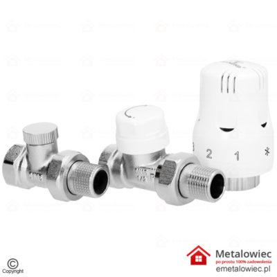 Zestaw termostatyczny PROSTY 1/2 Głowica + Zawory – do grzejnika