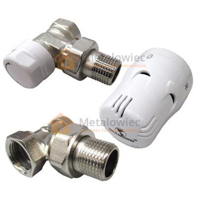 Zestaw termostatyczny do grzejnika głowica i zawory kątowe