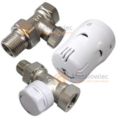 Zestaw termostatyczny do grzejnika głowica i zawory kątowe i proste