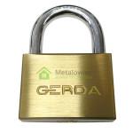 kłódka GERDA pałąkowa z mosiądzu z hartowanym pałąkiem na 3 klucze