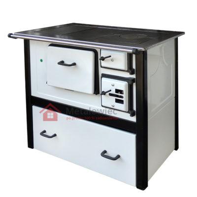 kuchnia węglowa grudziądzka z dolną szufladą o mocy 7kW z blatem żeliwnym i fajerkami