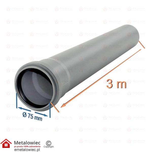 Rura kanalizacyjna fi-75 mm długość 3m