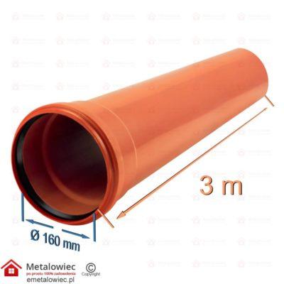 PVC Rura kanalizacyjna pomarańczowa fi-160 odcinek 3m